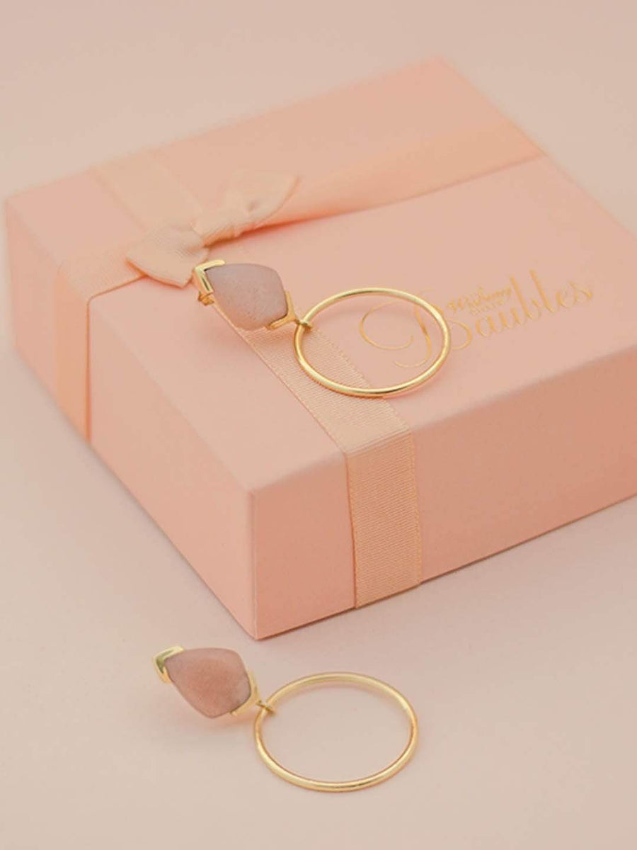 Sienna Gold Plated Earringswith Peach Moonstone Semi Precious Stones
