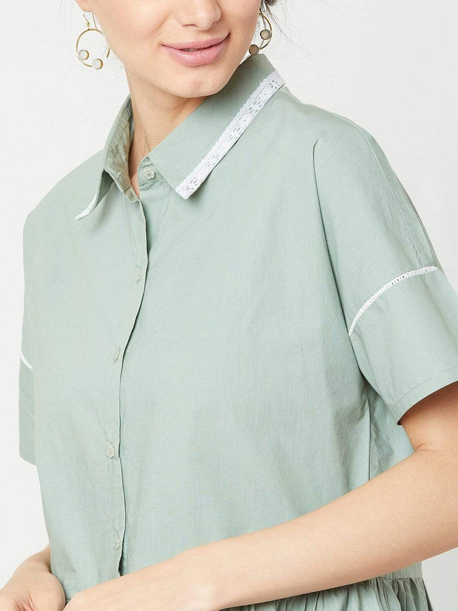 Trouvaille- Smocked top- Mint Green