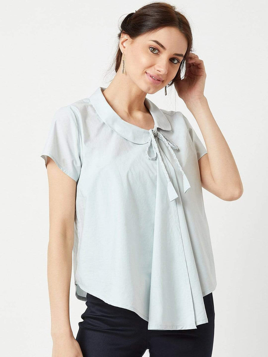 Trouvaille- Tilted Collar Top- Powder Blue-Grey