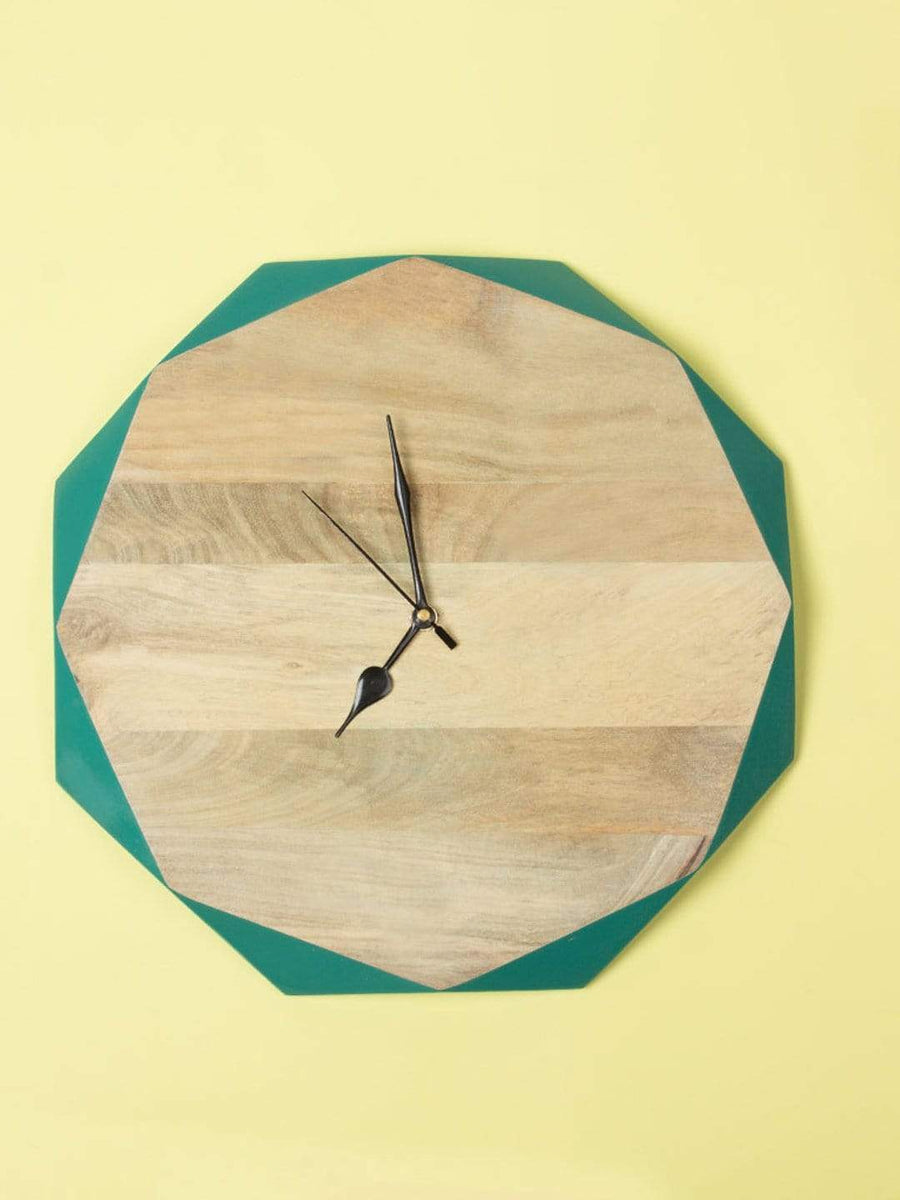Turquoise Wooden Faceted Clock