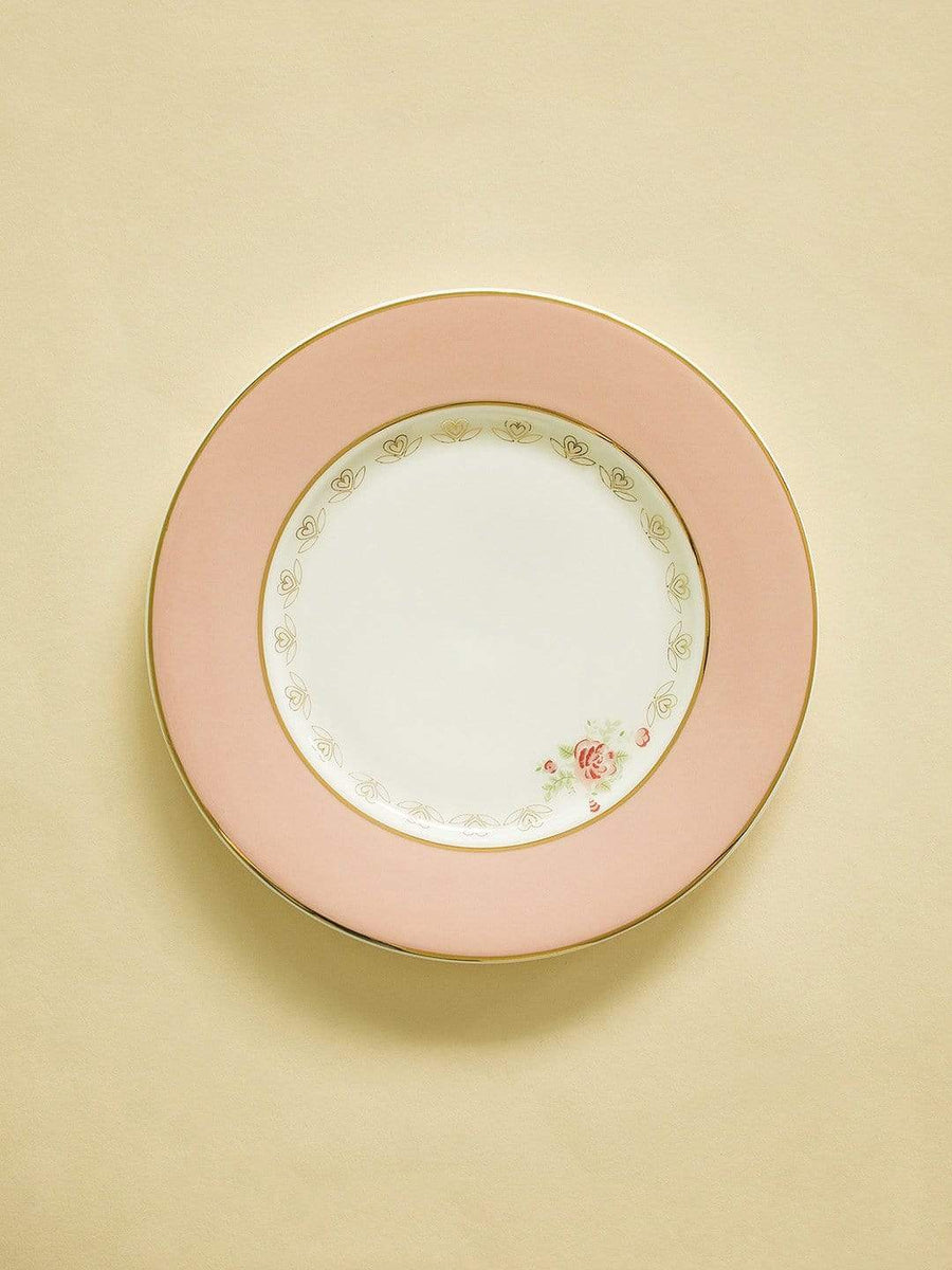 Vintage Rose Dessert Plates Set of 6 - Coral