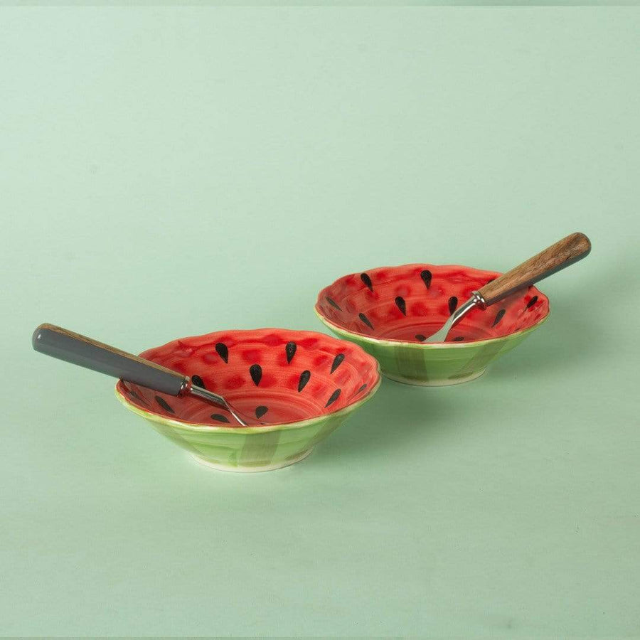 Watermelon Handpainted Ceramic Bowls - Set of 2