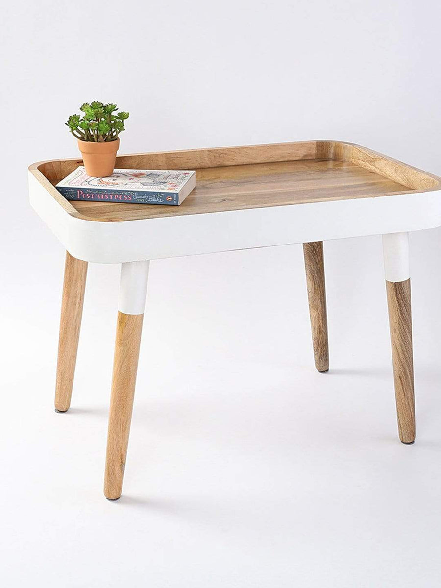 White Breakfast in Bed Tray Side Table