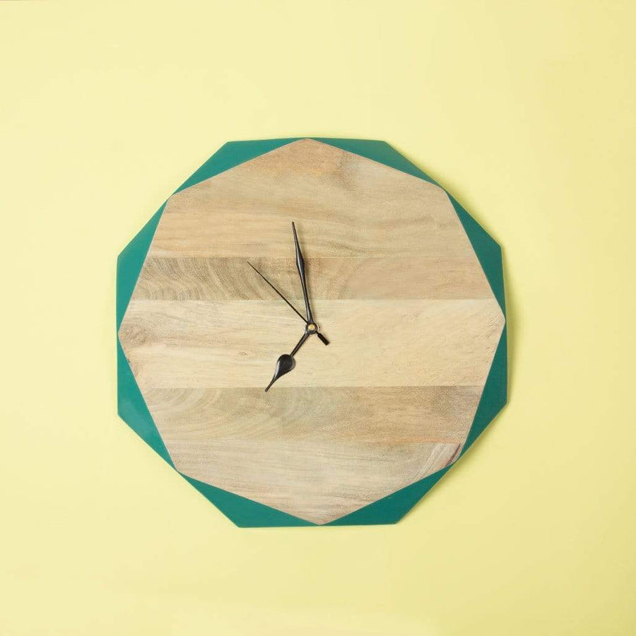 Wooden Faceted Clock