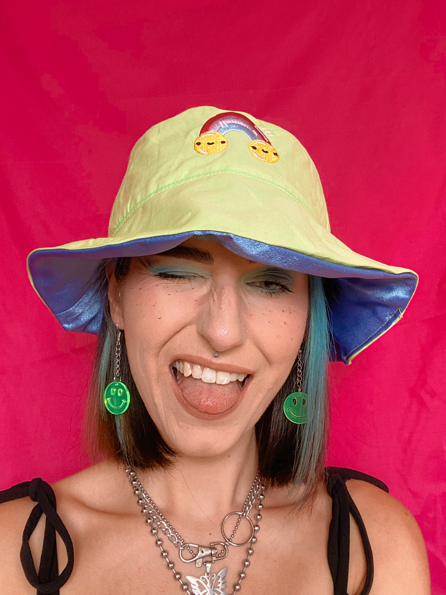 Rainbow Pals Bucket Hat - Lime Cotton
