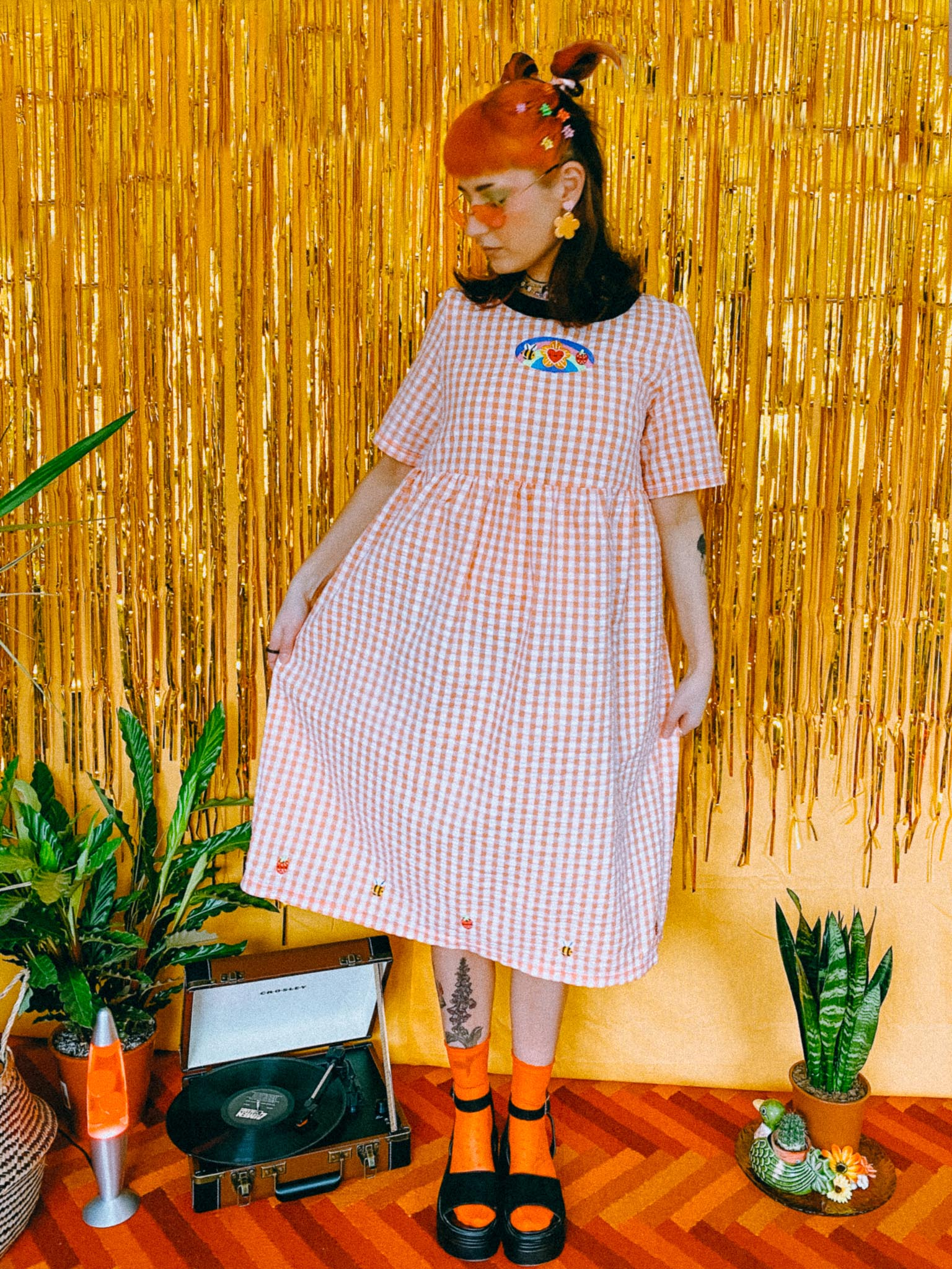Hippie Trip Gingham Smock Dress