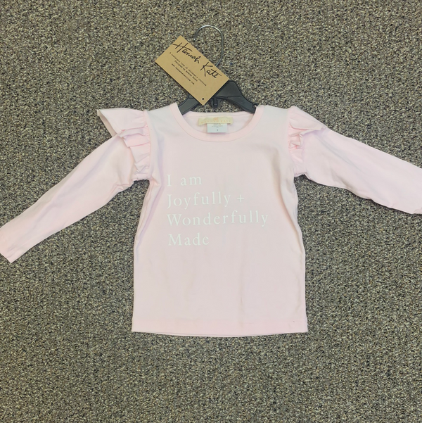 Angel Tee Long sleeve light Pink Joyfully and Wonderfully  Screen