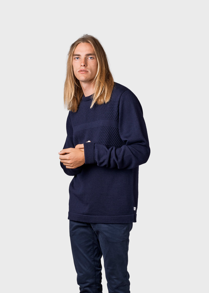 Klitmøller Collective ApS Johan knit Knitted sweaters Navy