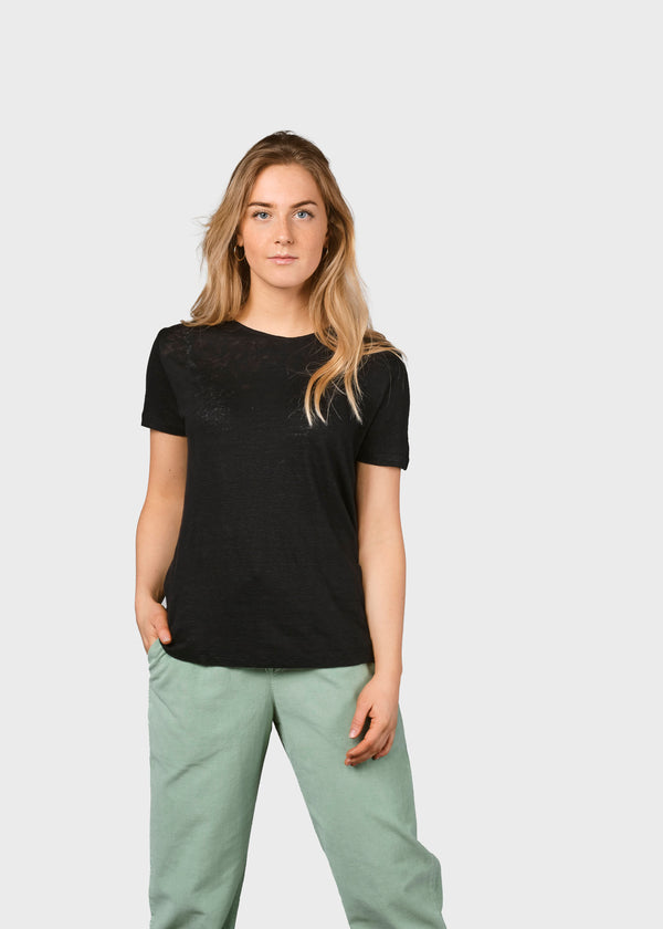 Klitmøller Collective ApS Rikke linen tee T-Shirts Black