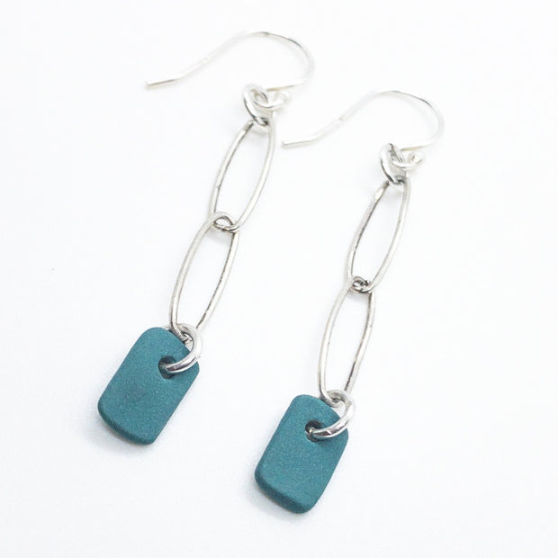 Chain Dangles: Teal or Black Porcelain Mini Rectangles