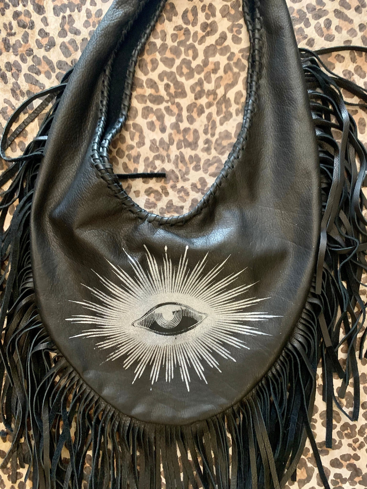 Totem Salvaged Leather Fringe Teardrop Shoulder Bag