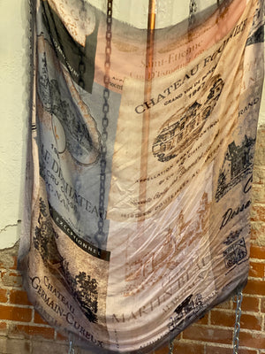 French champagne label tissue scarf