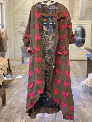 Magnolia Pearl European Linen Heart Appliqué Emery Coat