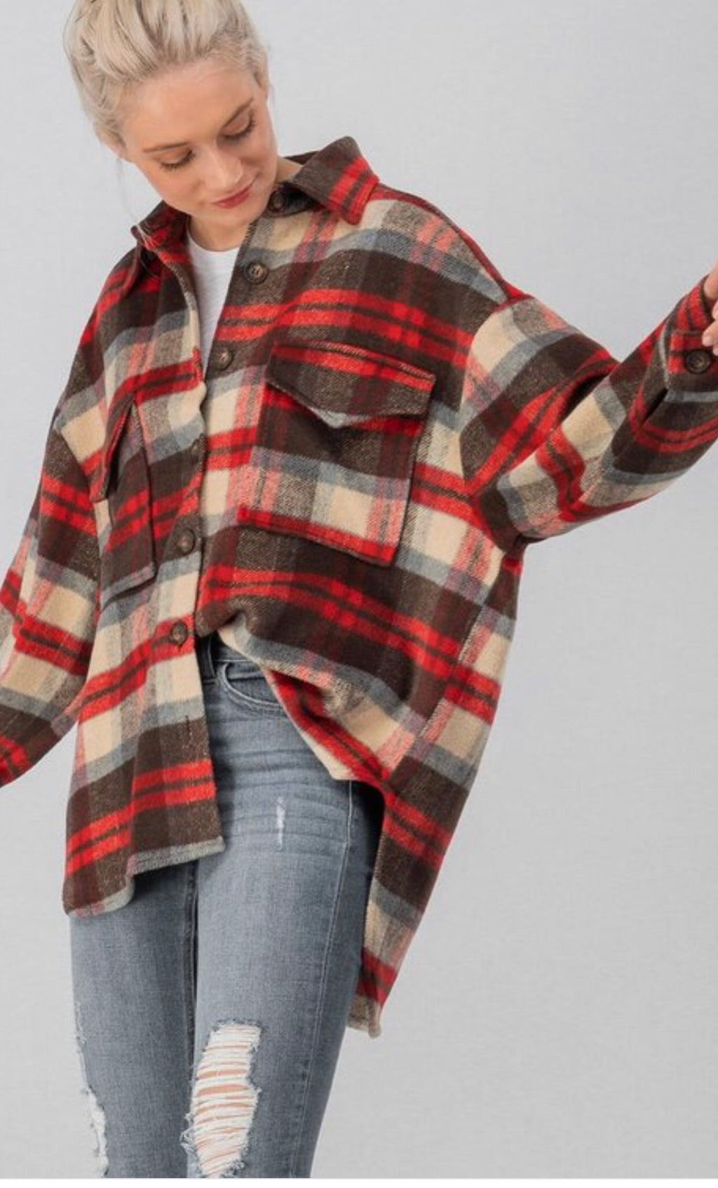 Mountain Mama Plaid Tail Shirt