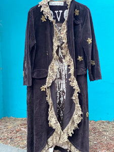 MAGNOLIA PEARL VELVET SEQUIN STAR EMERY COAT, ROOTED EARTH