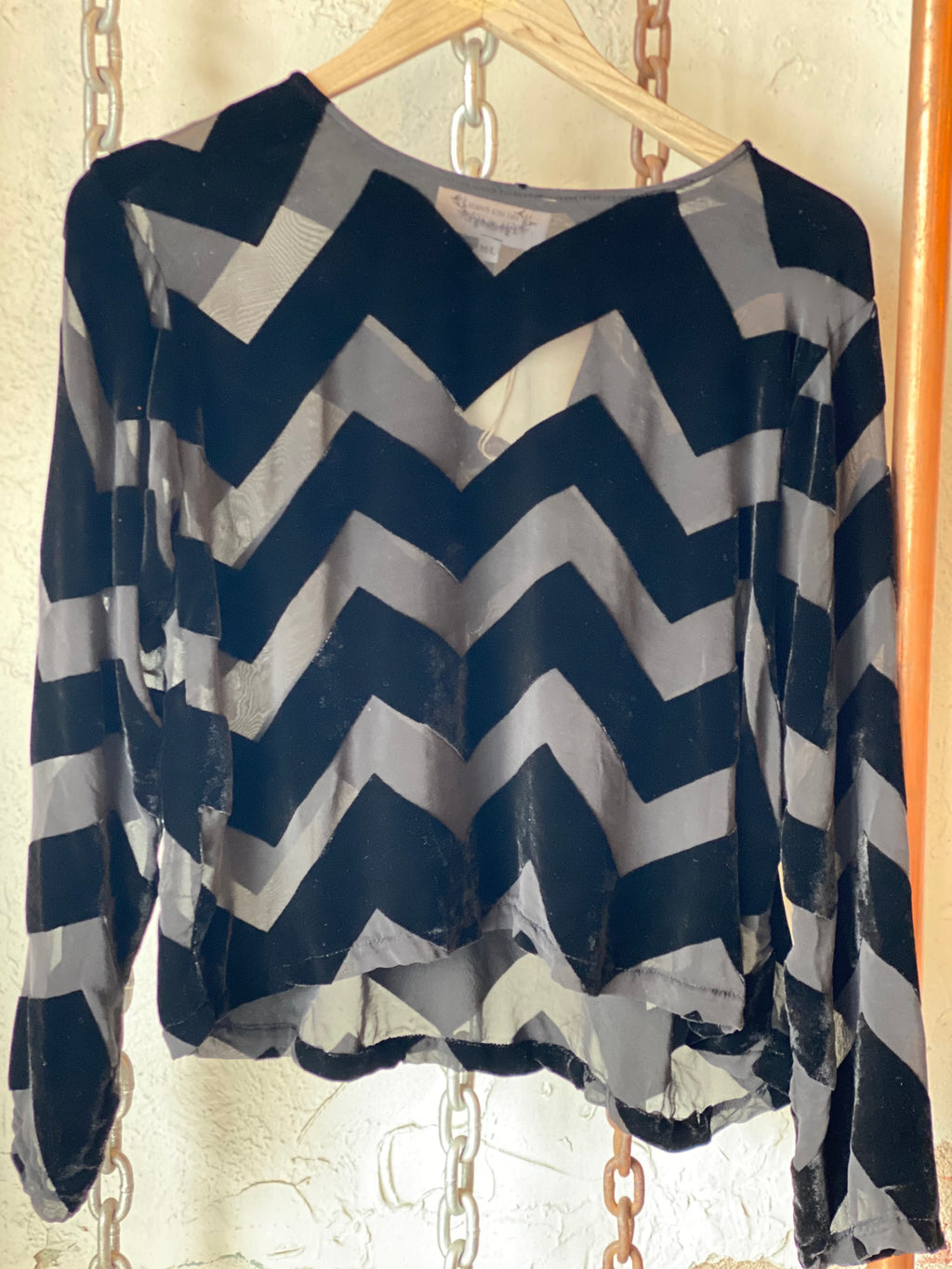 Edens 6th Day velvet chevron top