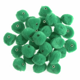 Green Pom Poms with Threading Hole - 12mm-Pack Of 50