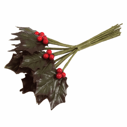 Artificial - Holly Leaves and Berries - Double leaves -12 Stems
