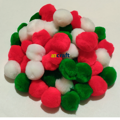 Christmas Colour 25mm Red,Green and White Craft Pom Poms-Pack of 50