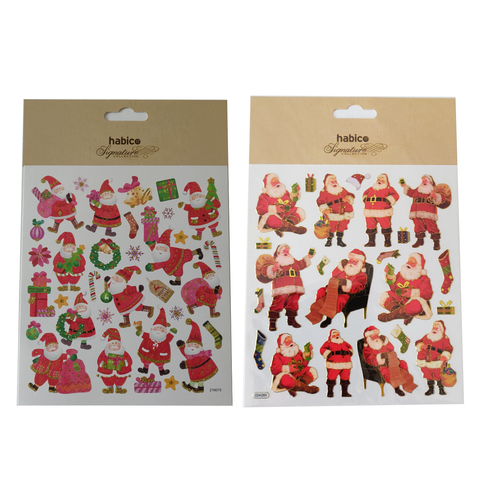 Santa Claus Stickers Sheet For Card Christmas Decorations in Two Designs
