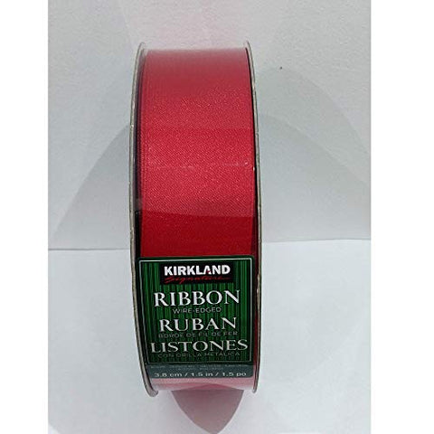 Kirkland Wire Edged Shiny Red Ribbon for Christmas and Wedding Craft