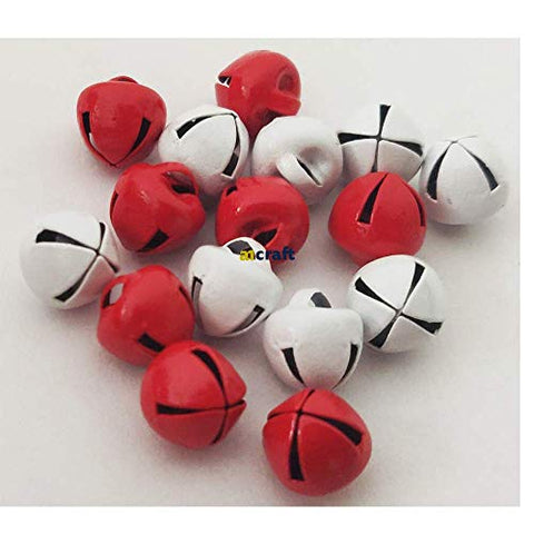 8mm Christmas Craft Red and White Jingle Bell-Pack of 16