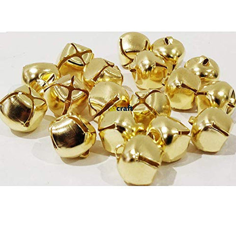 14mm Gold Colour Christmas Jingle Bell-Craft Bells-Pack 20