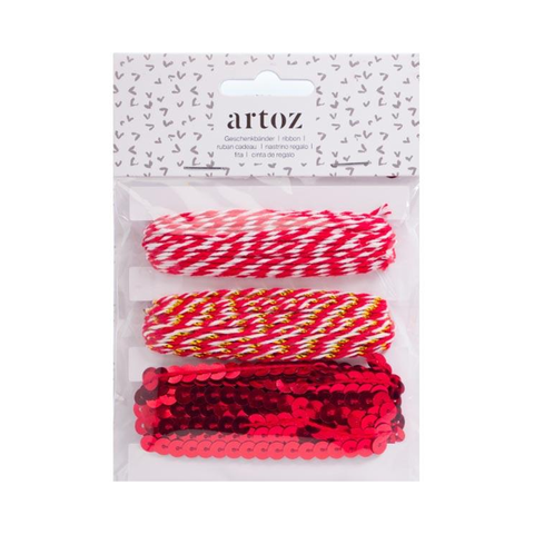 ARTOZ Christmas Decoration Assorted Style Red Twine String And Sequins Ribbon