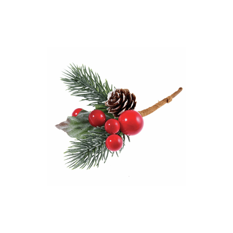 Pinecone and Berry Spray For Christmas Craft Decoration-Single