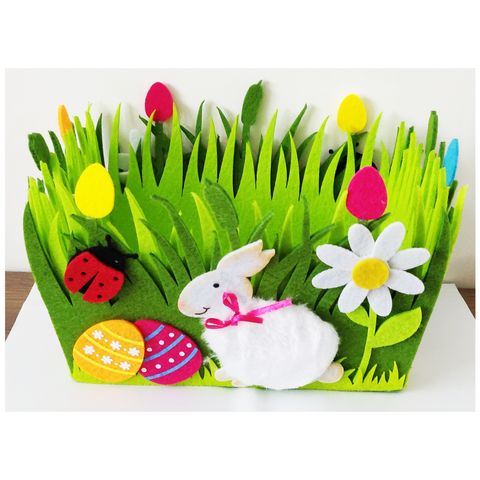 Decorative Easter Egg Storage Felt Basket -Single