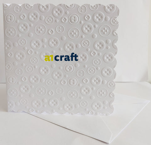 6x6 Button Embossed White Cards & envelopes-Pack 50