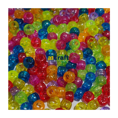 Assorted Glitter Pony Beads-Pack 100
