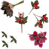 Holly Leaves Berries & Pine Cone Stems - Christmas Card Crafts and Wreath Making