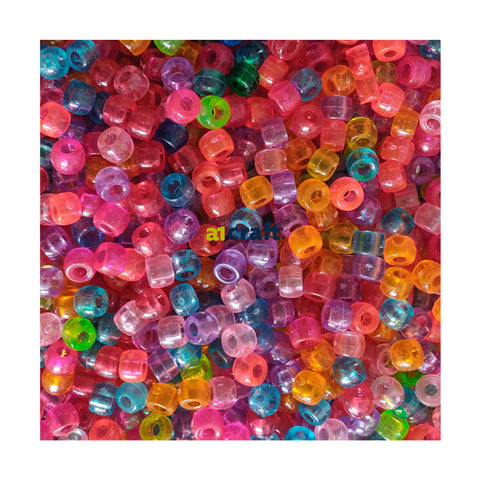 Assorted Colour Transparent Clear Pony Beads