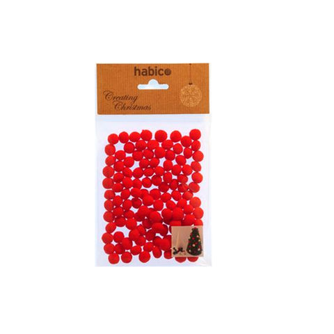 Mini 5mm Christmas Red Pom Pom -Pack of 120