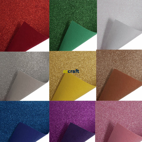 Sparkly A4 Glitter Felt for Craft ,Card and Bow Making-12 Stunning Colours