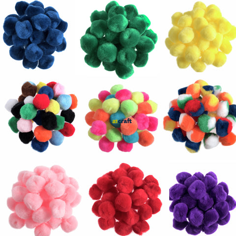 Fluffy Assorted Colour Pom Pom balls-25mm-Pack 100