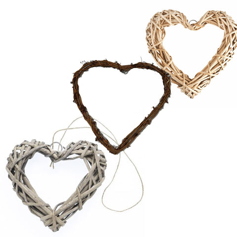 Grey and Natural Rattan Hanging Heart Wreath Wedding Supplies Home Decoration