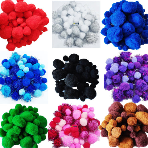 Assorted Size Pom Pom Fluffy Balls-Pack 50