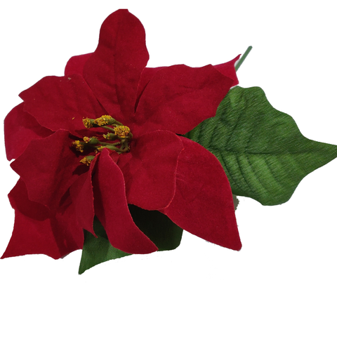 Red Velvet Poinsettia With Green Leaves Floral Picks for Christmas Wreath Tree Ornaments-Pack of 3