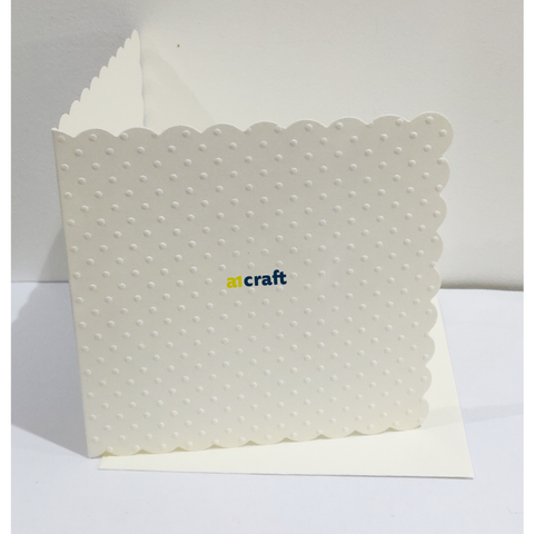 5x5 Scallop Square Polka Dot Embossed Cards & Envelopes-Cream-Pack 50