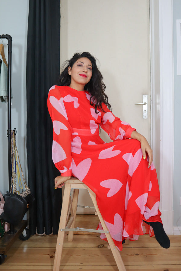 Maxi Dress More Love Red Heart Julyliebe