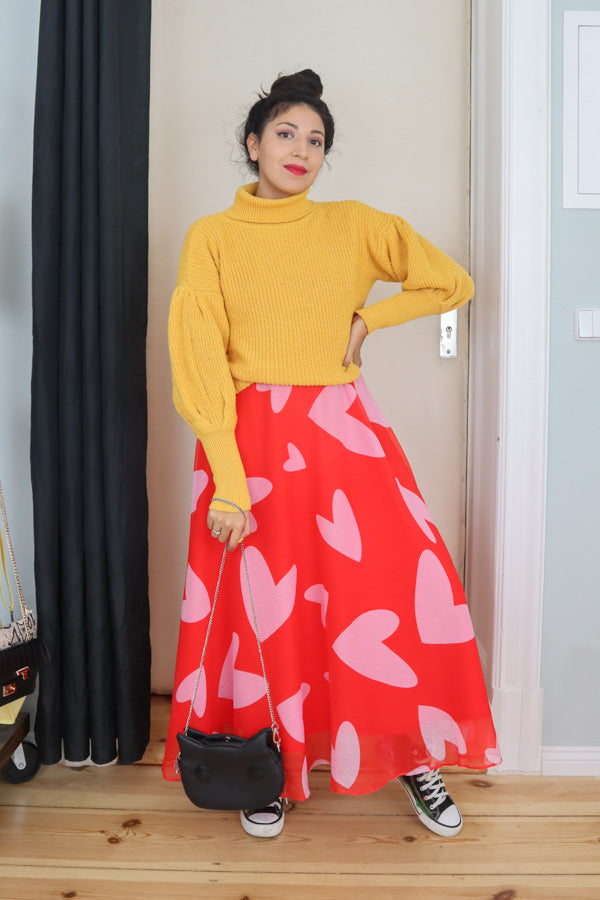 More Love Long Dress Red Hearts Julyliebe Maxi Sweater Yellow