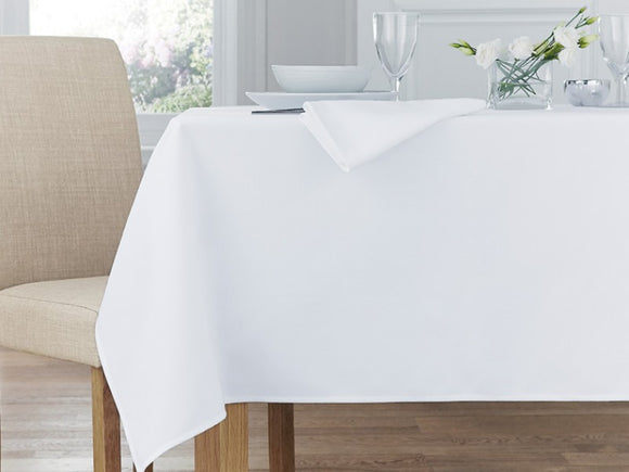 Restaurant White 'Cotton Feel'  Polyester Table Linen - Total Linen