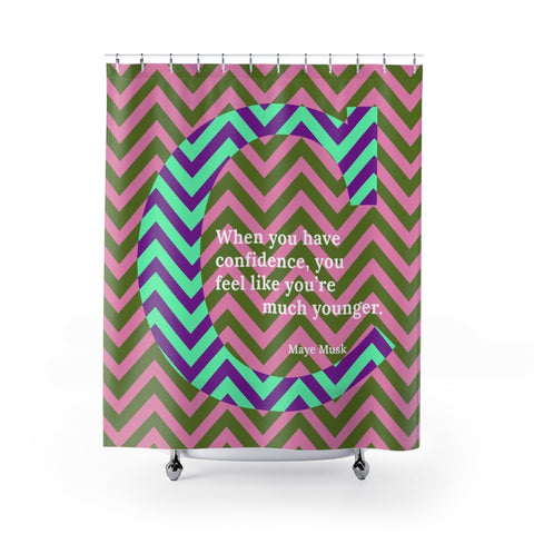 Confident Chevron - shower curtain