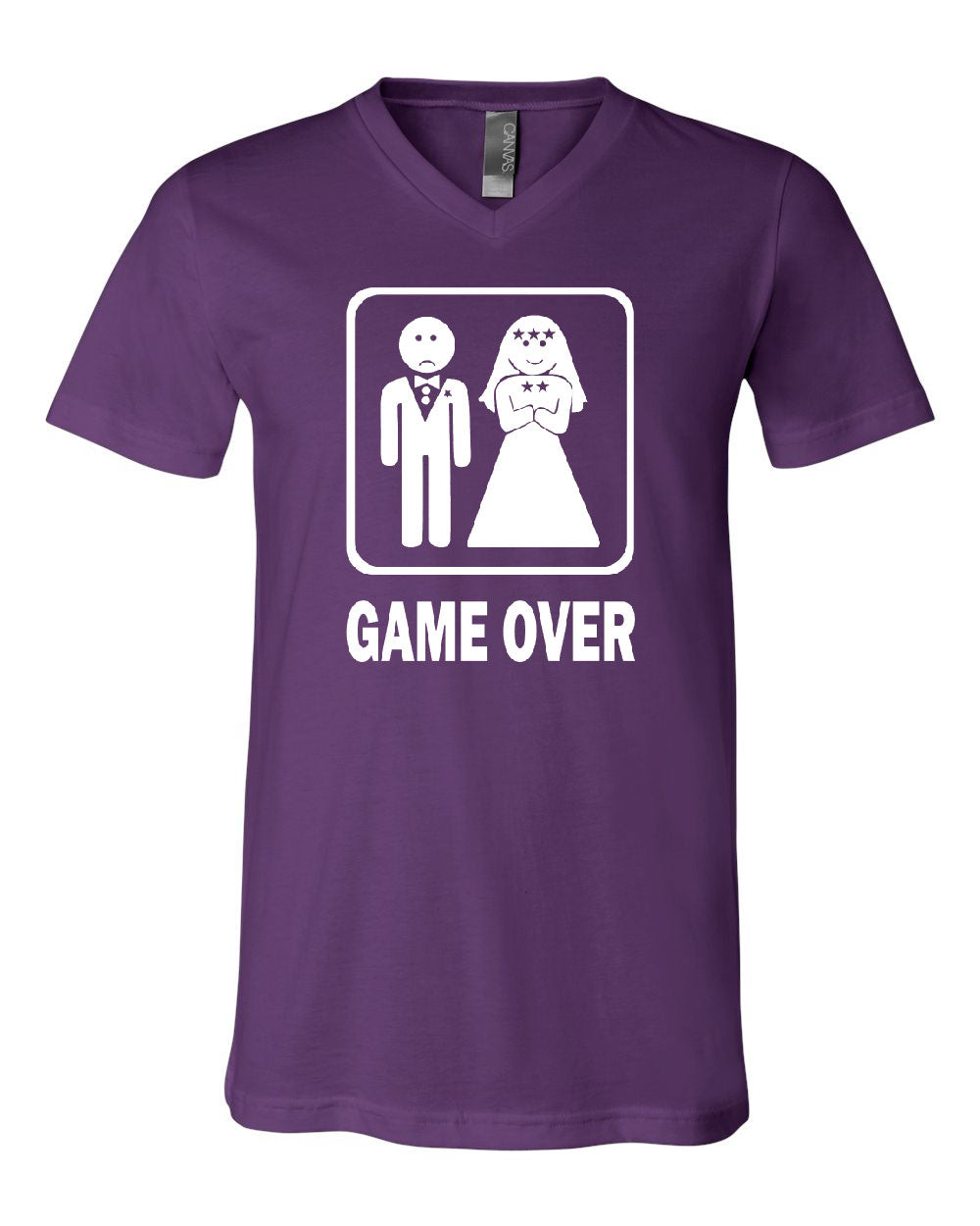 Game over funny v neck t shirt groom and bride wedding tee for Novelty bride wedding dress t shirt
