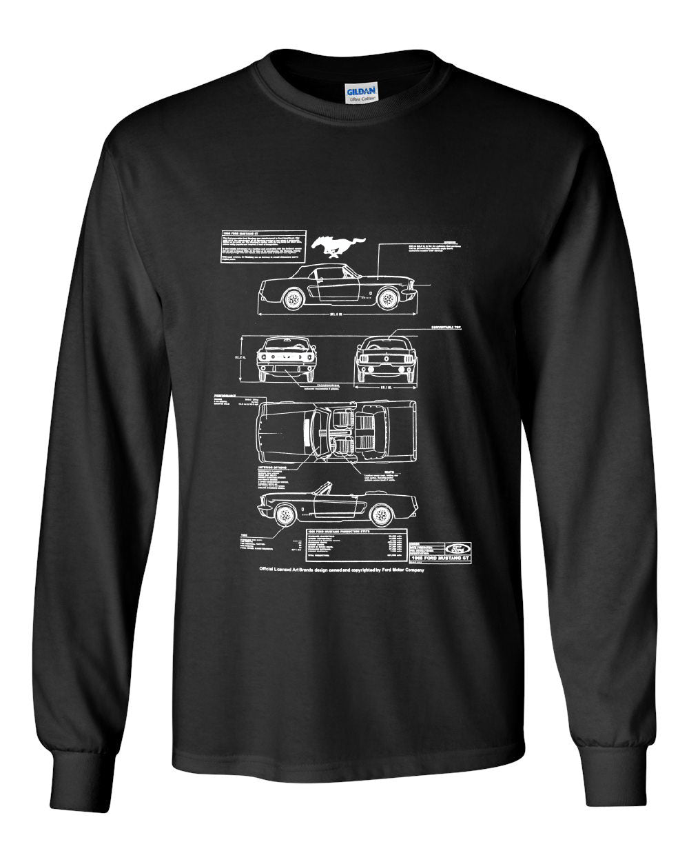 1966 ford mustang gt blueprint long sleeve t shirt american classic 1966 ford mustang gt blueprint long sleeve t malvernweather Gallery