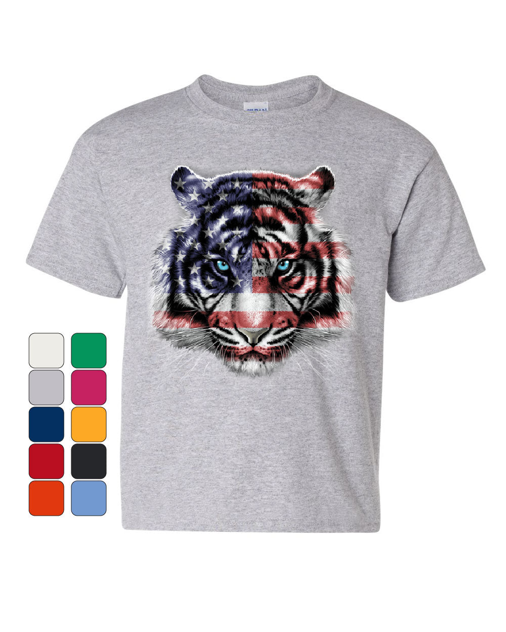 fecccf3a9cbeb Details about American White Tiger Youth T-Shirt Stars and Stripes Wild Cat  Nature Kids Tee