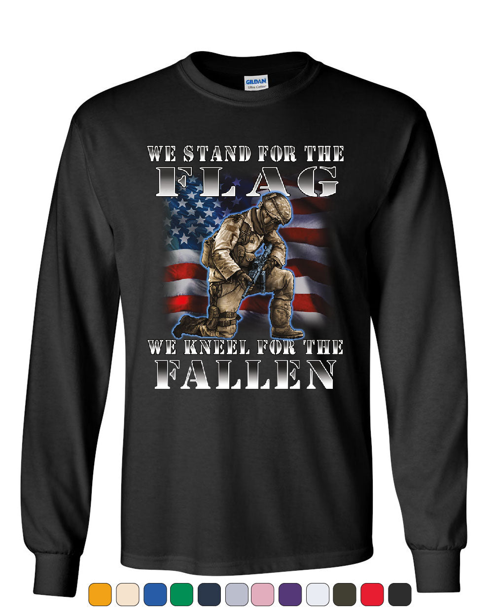 We Stand for the Flag Youth T-Shirt Veteran Military POW MIA Army Navy Kids Tee