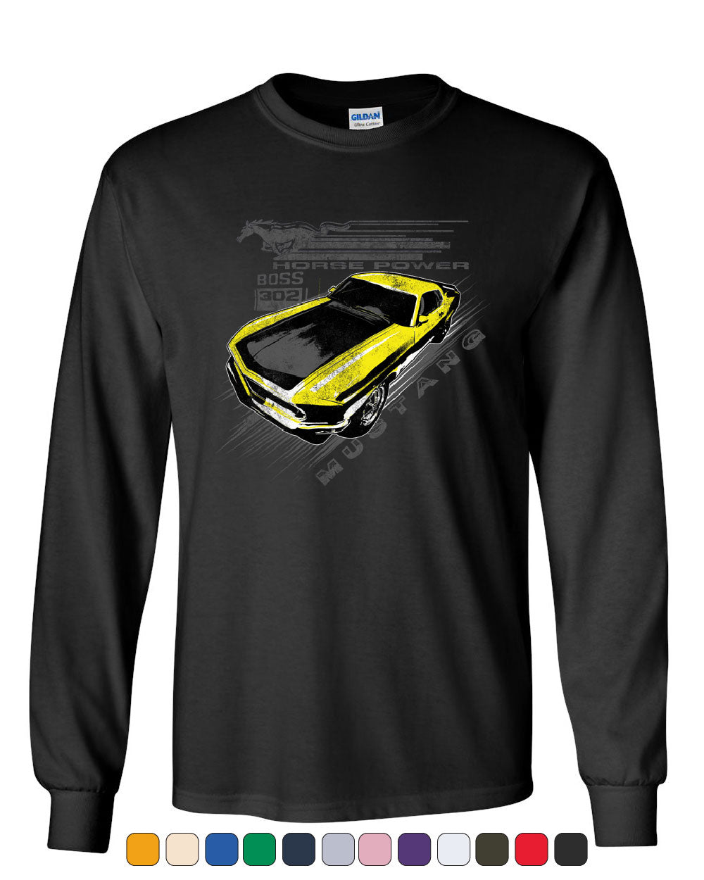 75a6c9c5 Ford Mustang Yellow Boss 302 Long Sleeve T-Shirt Vintage American Muscle  Car Tee